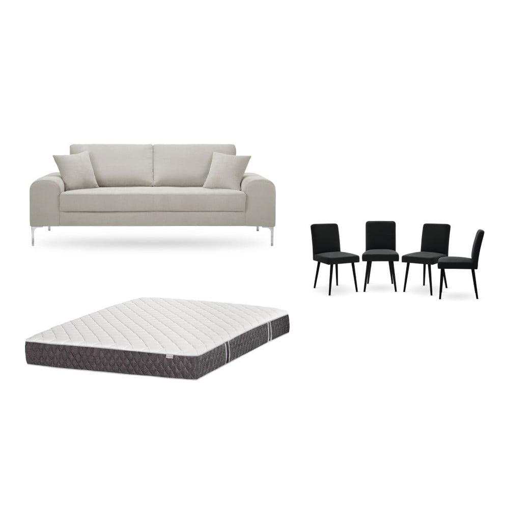 Set trojmiestnej krémovej pohovky, 4 čiernych stoličiek a matraca 160 × 200 cm Home Essentials