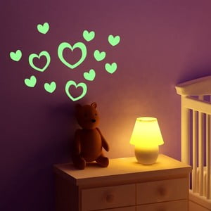 Sada 10 svietiacich samolepiek Fanastick Hearts