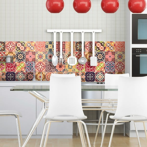 Sada 30 nástenných samolepiek Ambiance Cement Tiles La Valette, 10 × 10 cm