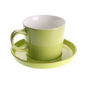 Väčšia raňajková šálka s tanierikom Verde