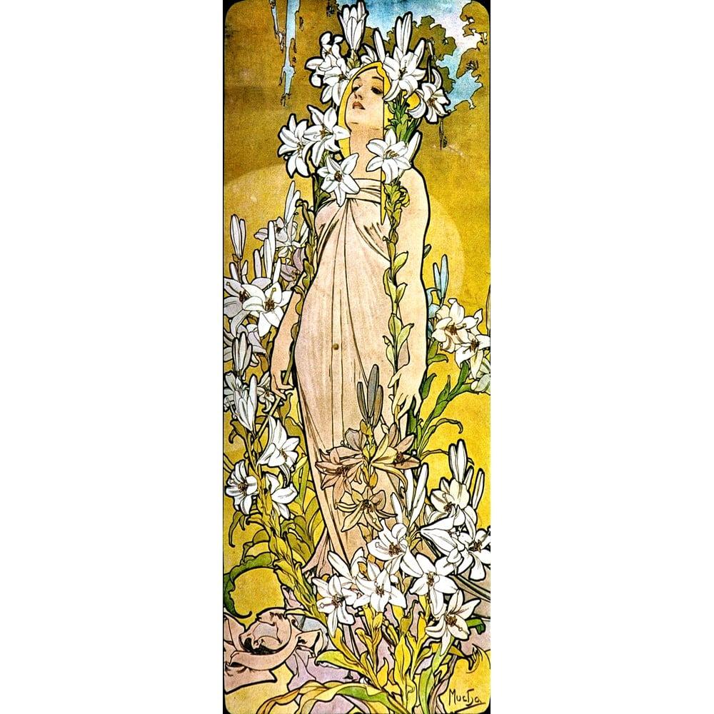 Reprodukcia obrazu Alfons Mucha - The Flowers Lily, 30 × 80 cm