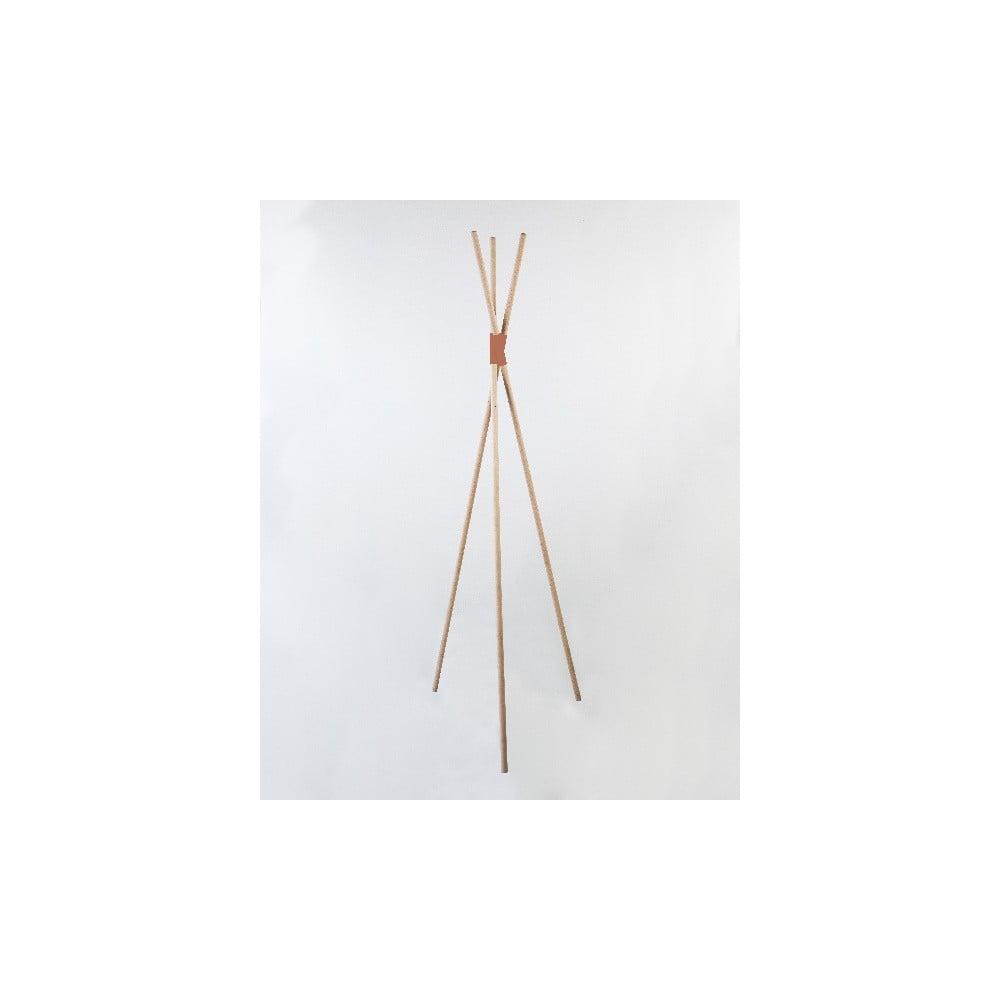 Voľne stojaci vešiak z bukového dreva s ružovým detailom Surdic Mikado Hanger, výška 170 cm