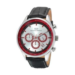 Čierne pánske hodinky z pravej kože s červeným ciferníkom Rhodenwald & Söhne Eastwood
