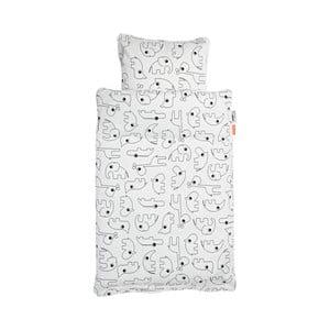 Biele detské obliečky Done by Deer Contour, 100×135 cm