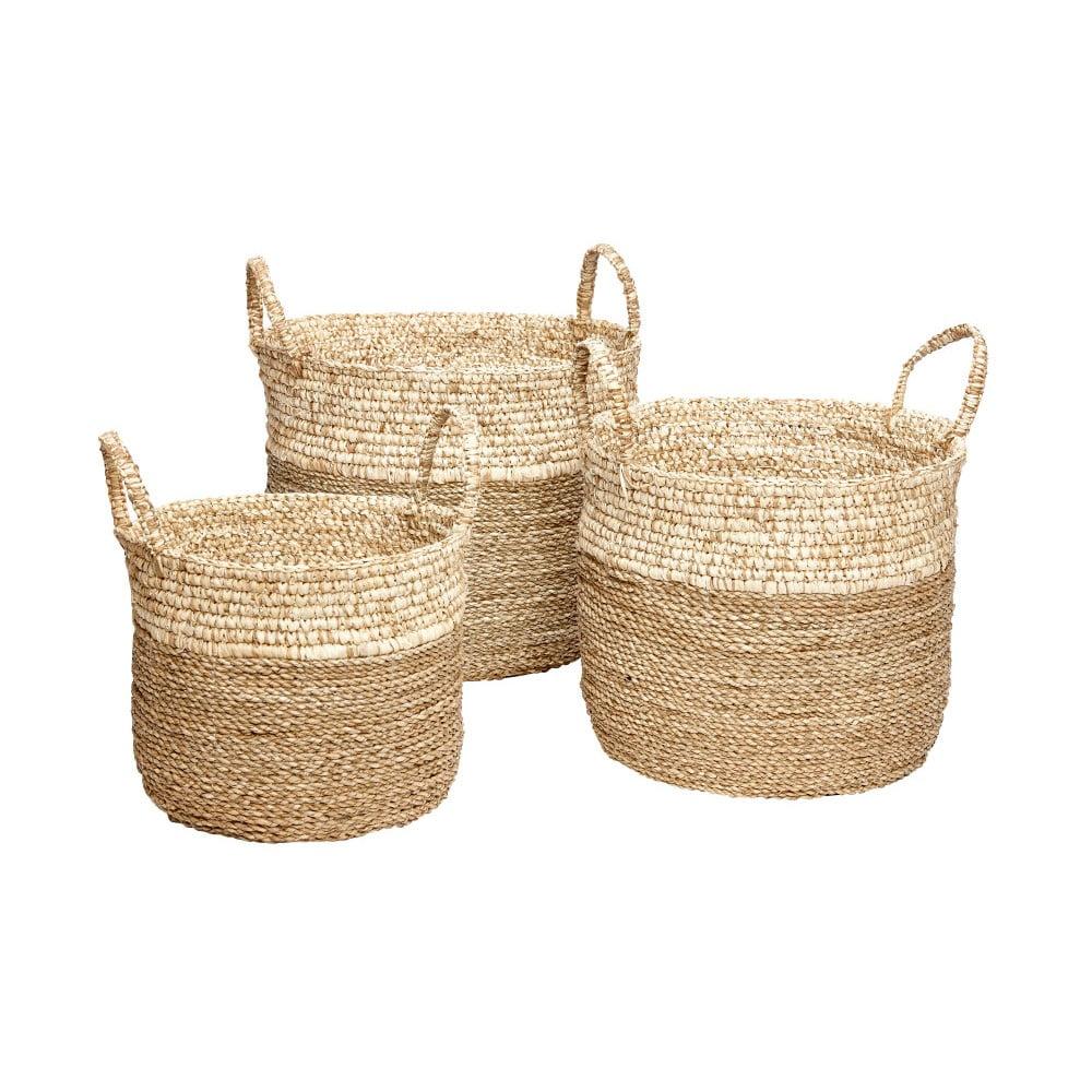 Sada 3 úložných košíkov z morskej trávy Hübsch Maria