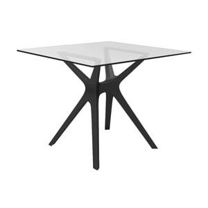 Jedálenský stôl s čiernymi nohami a so sklenenou doskou vhodný do exteriéru Resol Vela, 90 × 90 cm