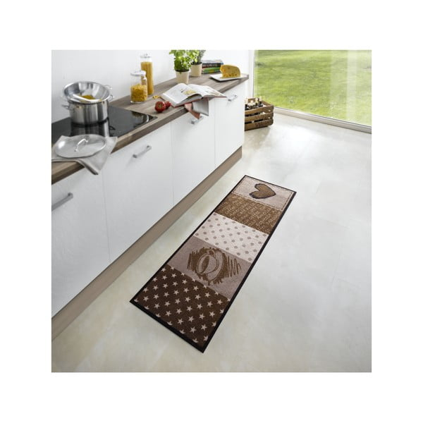 Hnedý kuchynský behúň Zala Living Coffee Heart, 50×150cm