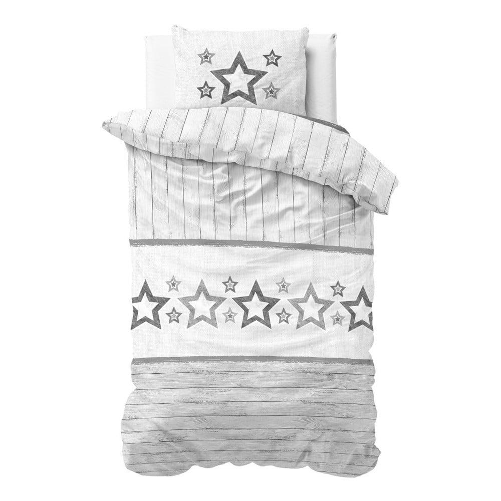 Sivo-biele obliečky z mikroperkálu Sleeptime Stars, 140 × 220 cm