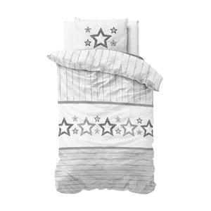 Sivo-biele obliečky z mikroperkálu Sleeptime Stars, 140×220 cm