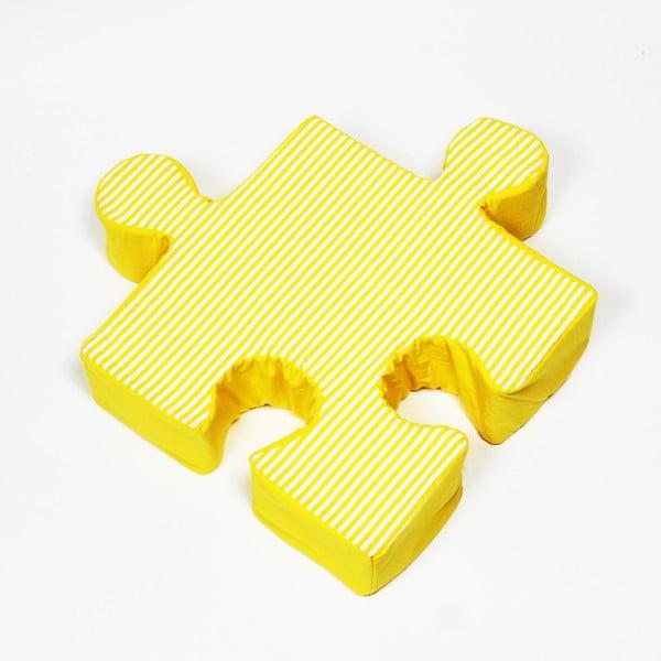 Žltý vankúšik Puzzle Stripes