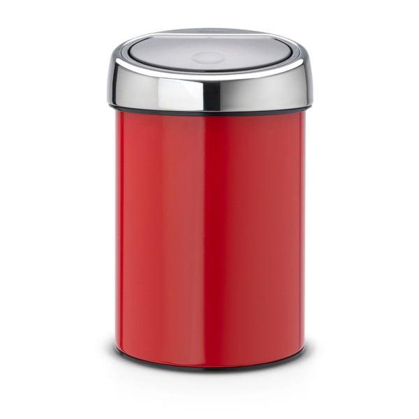 Červený odpadkový kôš Brabantia Touch Bin, 3l