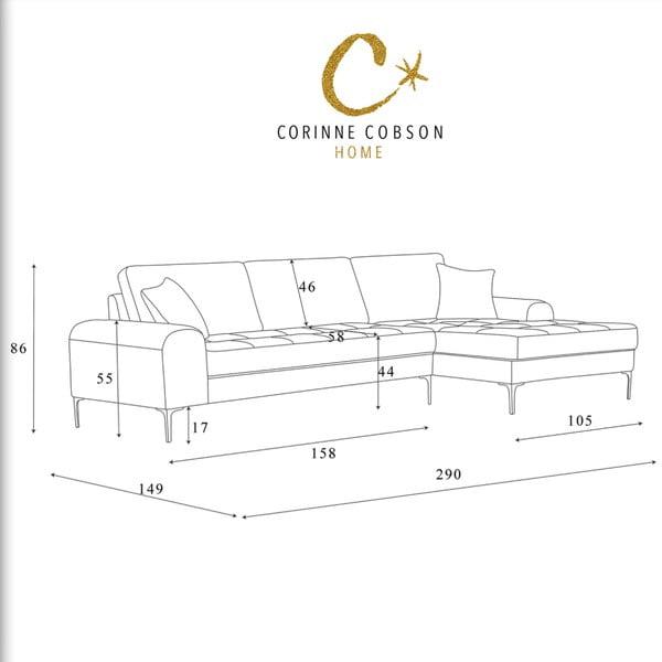 Čierna rohová pohovka Corinne Cobson Home Dillinger, pravý roh