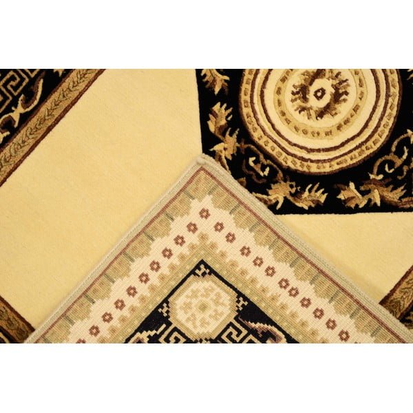 Vlnený koberec Vanilla Black, 90x160 cm