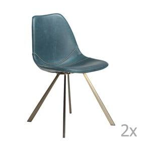 Sada 2 modrých jedálenských stoličiek s podnožou v zlatej farbe DAN– FORM Pitch
