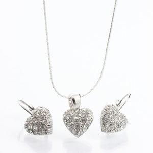Set náhrdelníka a náušnic Laura Bruni Heart Crystal