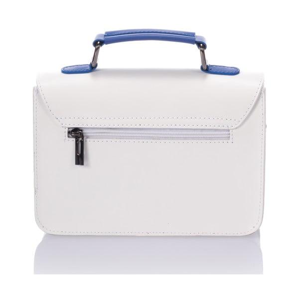 Kožená kabelka Cristel, bielo-modrá
