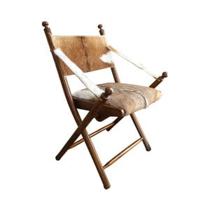 Stolička z teakového dreva a kozej kože Orchidea Milano Sion