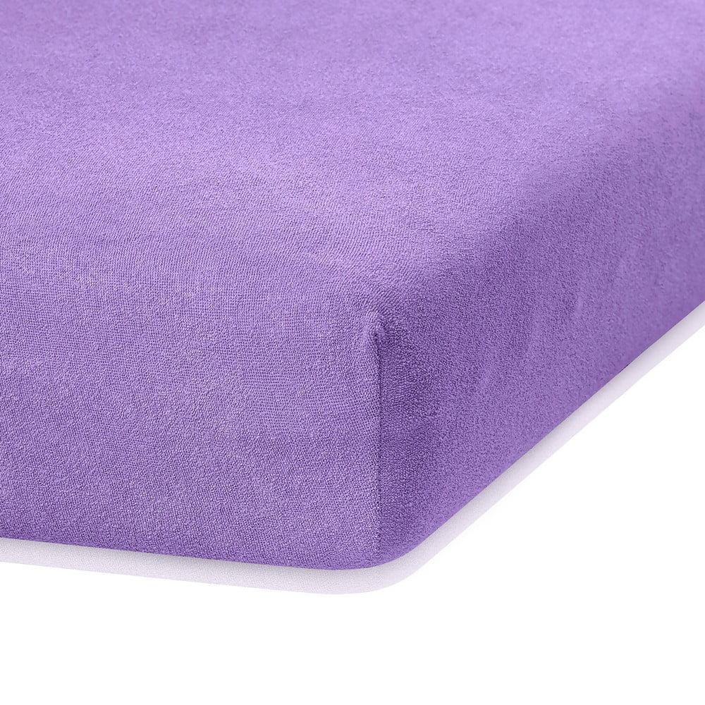 Fialová elastická plachta s vysokým podielom bavlny AmeliaHome Ruby, 200 x 140-160 cm