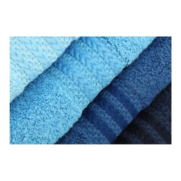 Sada 4 modrých uterákov Rainbow Sky, 50 x 90 cm