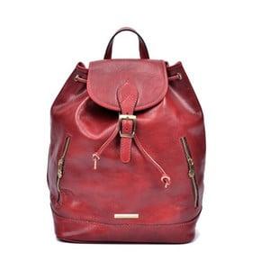 Červený dámský kožený batoh Anna Luchini Carinna