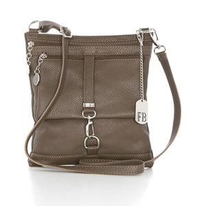 Sivo-hnedá kožená kabelka Federica Bassi Hadar