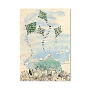 Plagát Four Happy Kites, 30x42 cm