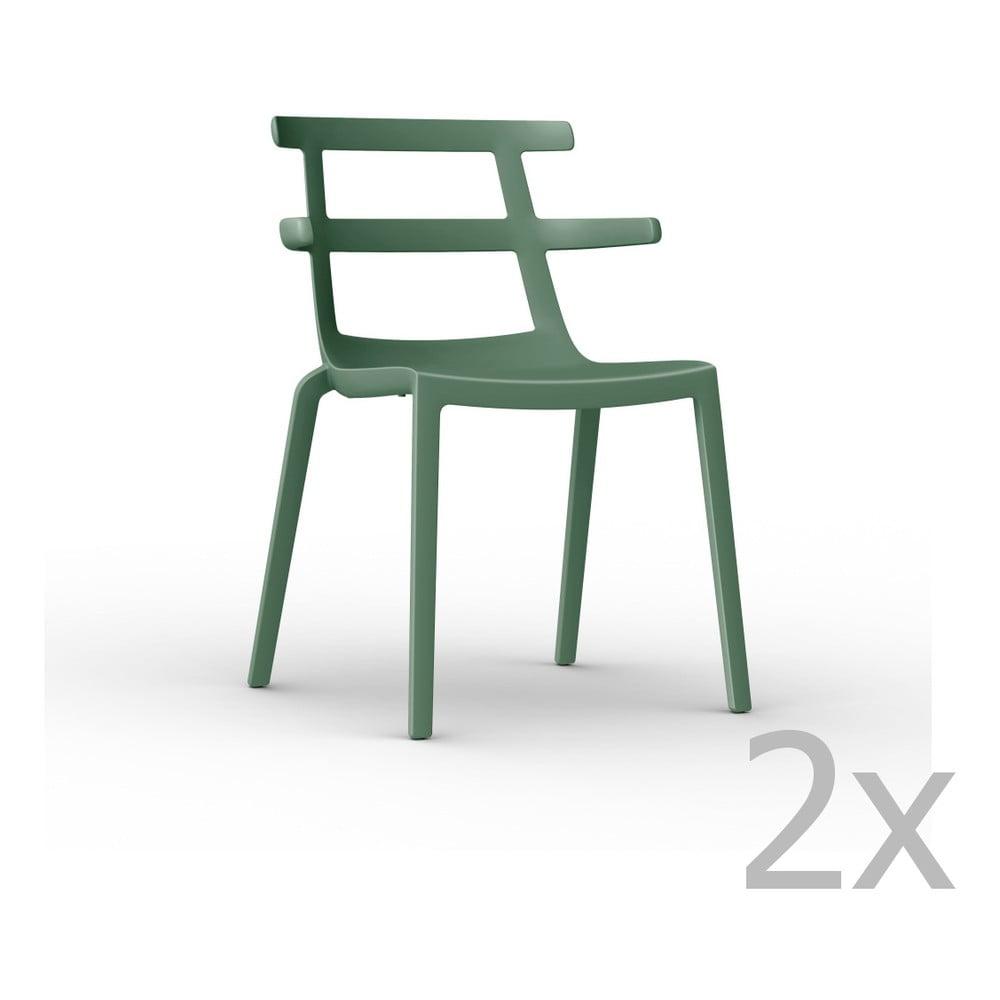 Sada 2 zelených záhradných stoličiek Resol Tokyo