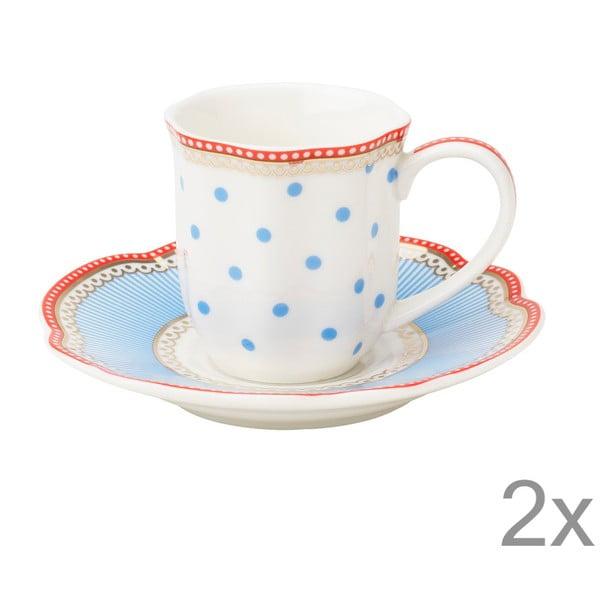 Porcelánová šálka na espresso s tanierikom Seaside od Lisbeth Dahl, 2 ks