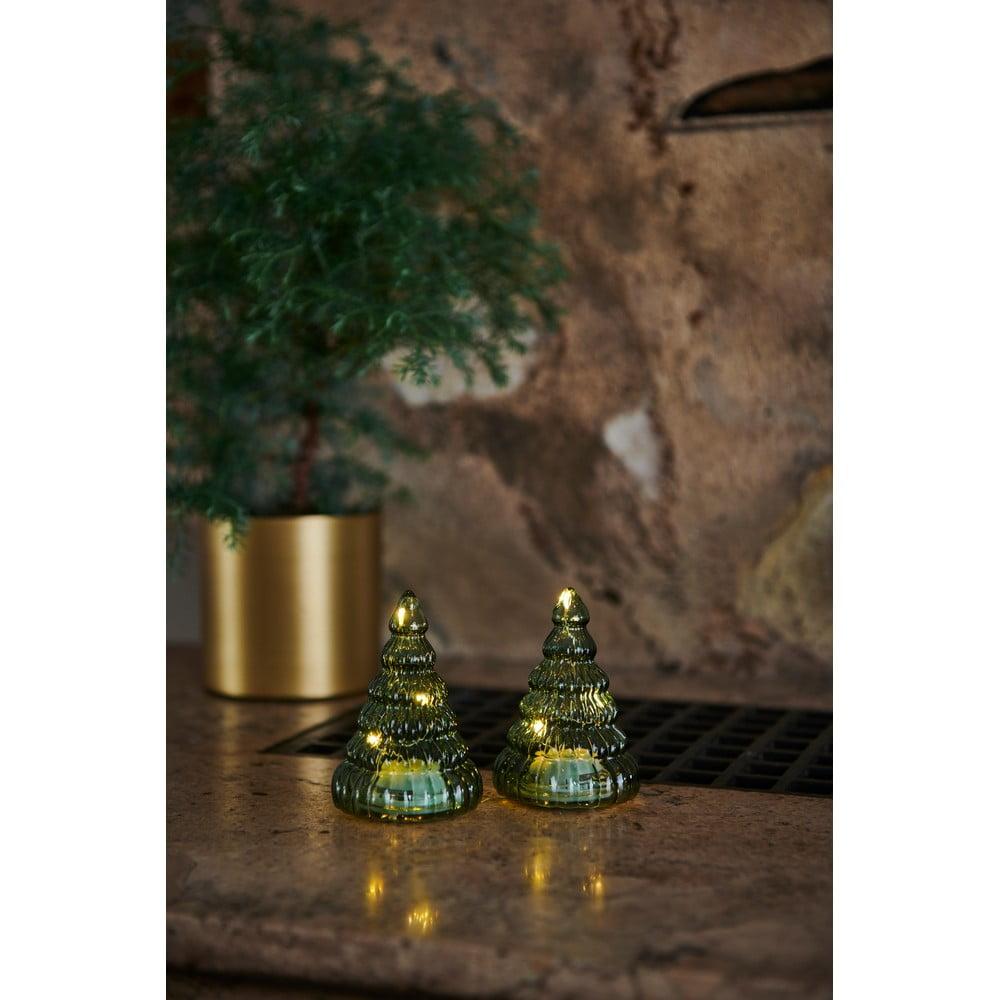Súprava 2 svetelný LED dekorácií Sirius Lucy Tree Green, výška 9 cm