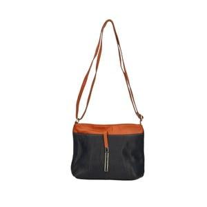 Tmavomodrá kožená kabelka s hnedými detaily Roberto Buono Meril