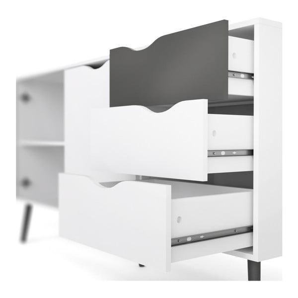 Biela komoda s 3 zásuvkami a čiernymi detailmi Evergreen House Delta