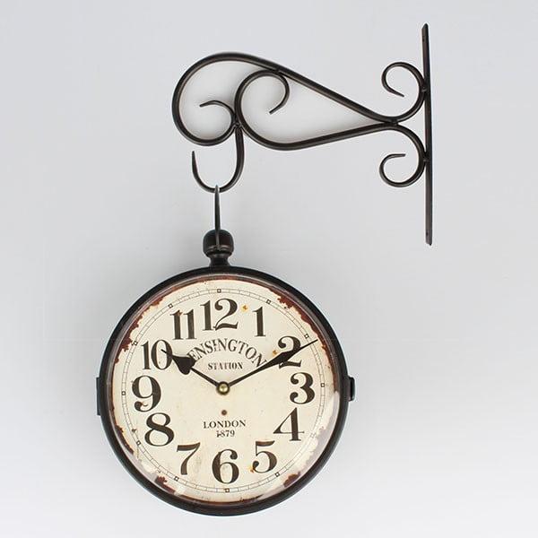 Kovové obojstranné hodiny Kensington