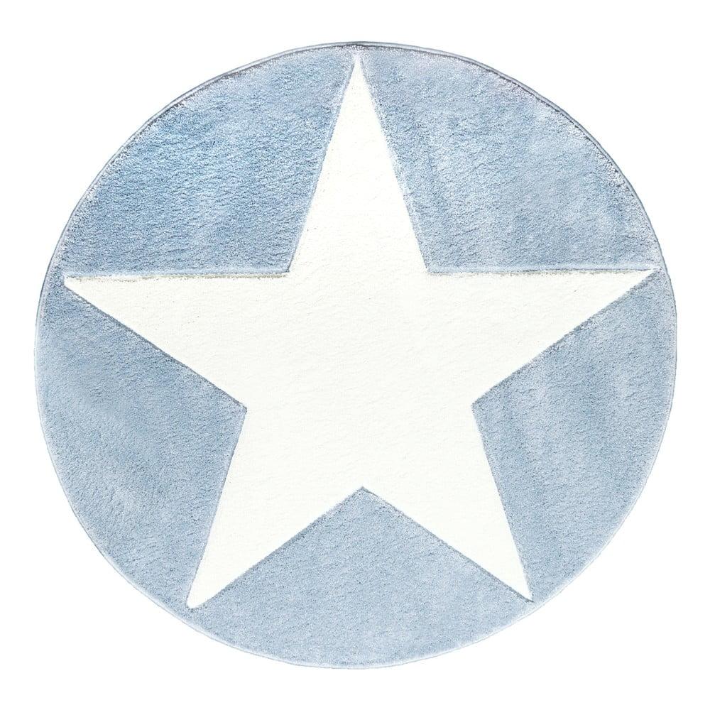 Modrý detský koberec Happy Rugs Round, Ø 133 cm