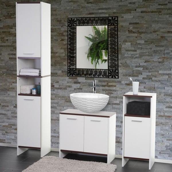 Kupeľňová skrinka Sonoma White/Brown, 28x32x82 cm