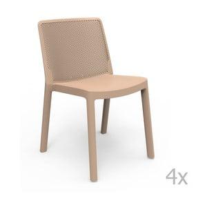 Sada 4 béžových záhradných stoličiek Resol Fresh
