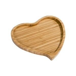 Bambusová doštička na servírovanie Aminda Heart, šírka 19 cm