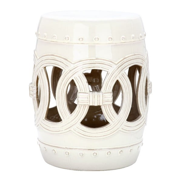 Biely odkladací keramický stolík Safavieh Ibiza