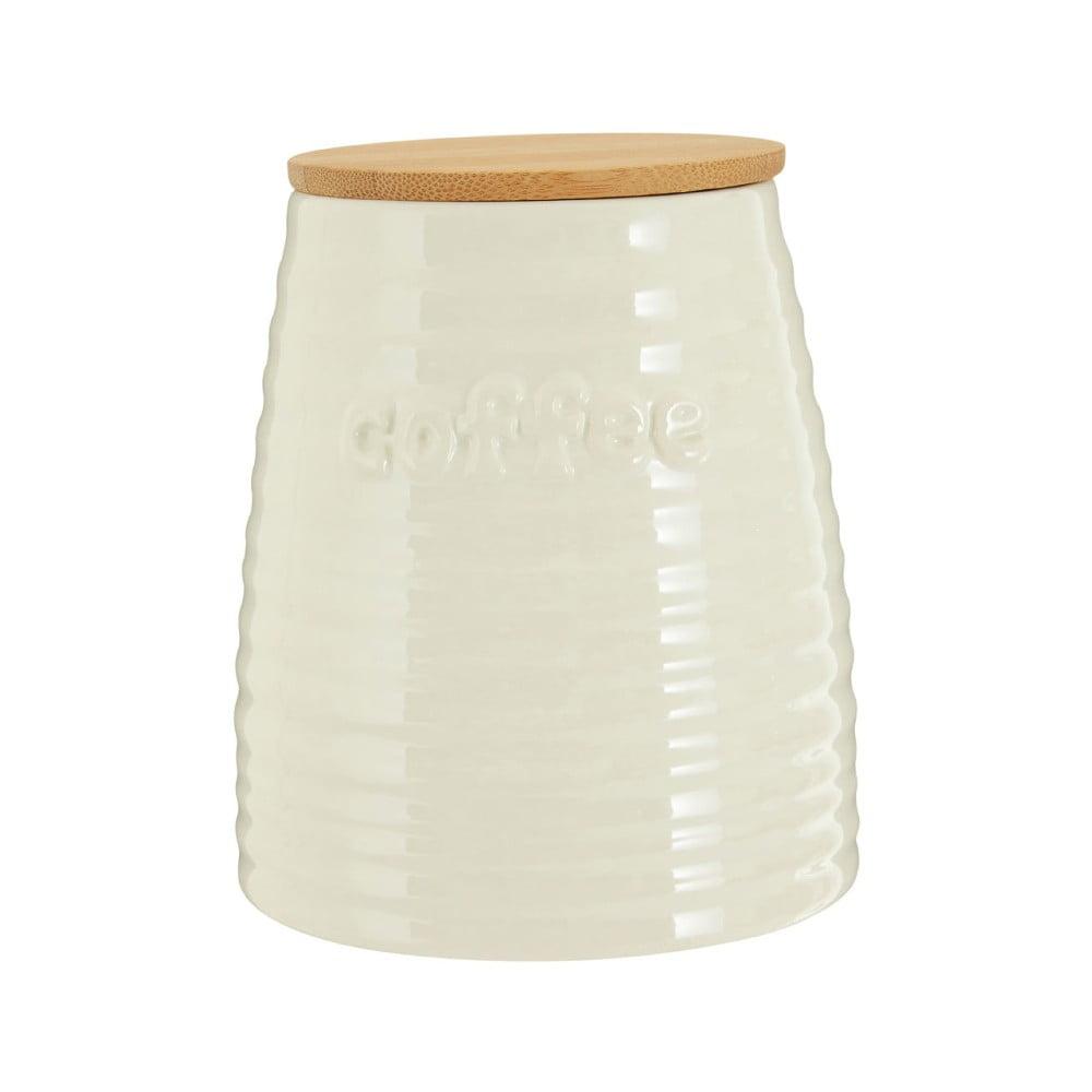 Béžová dóza na kávu s bambusovým vrchnákom Premier Housewares Winnie, 950 ml