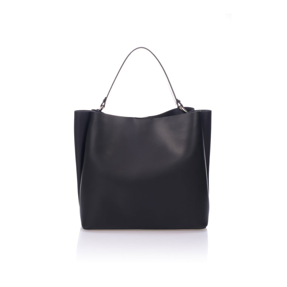Čierna kožená kabelka Giulia Massari Dona