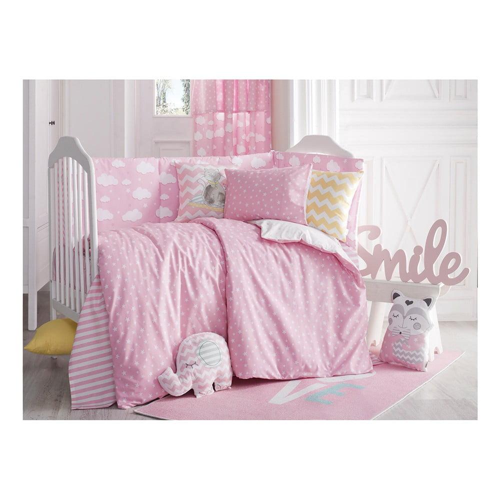 Ružové detské bavlnené obliečky s plachtou na jednolôžko Apolena Carino, 90 x 120 cm