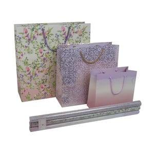 Sada 3 darčekových tašiek a 3 kotúčov baliaceho papiera Charming Garden
