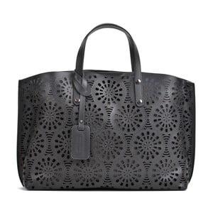 Čierna kožená kabelka Mangotti Bags Lulia