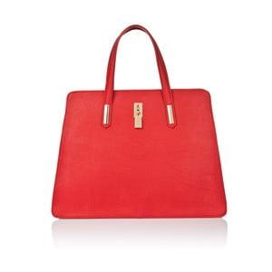 Červená kožená kabelka Markese Sauvage