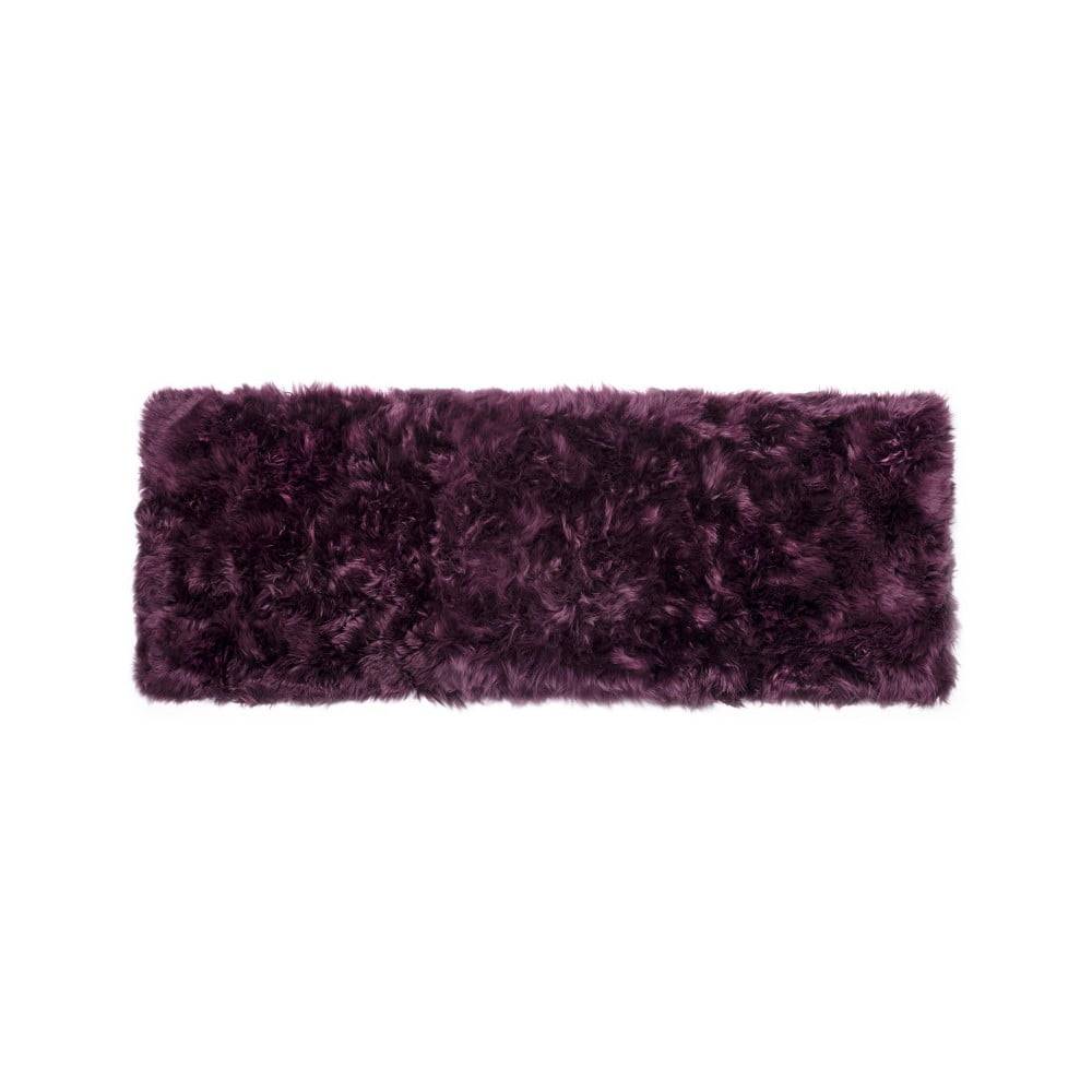 Tmavovínový obdĺžnikový koberec z ovčej vlny Royal Dream Zealand, 190 × 70 cm