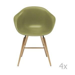 Sada 4 zelených jedálenských stoličiek s podnožou z bukového dreva Kare Design Forum