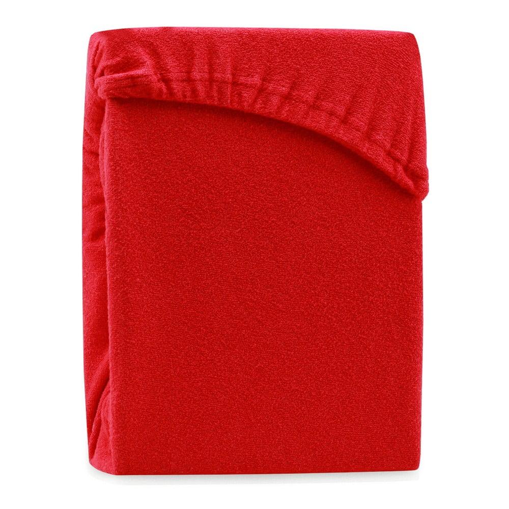 Červená elastická plachta na dvojlôžko AmeliaHome Ruby Red, 200-220 x 200 cm