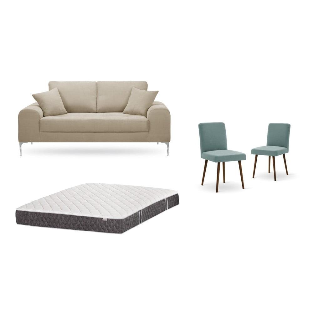 Set dvojmiestnej sivobéžovej pohovky, 2 sivozelených stoličiek a matraca 140 × 200 cm Home Essentials