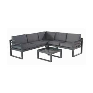 Set sivo-čierneho záhradného nábytku a štvorcového stola Hartman Oliver Black Grey