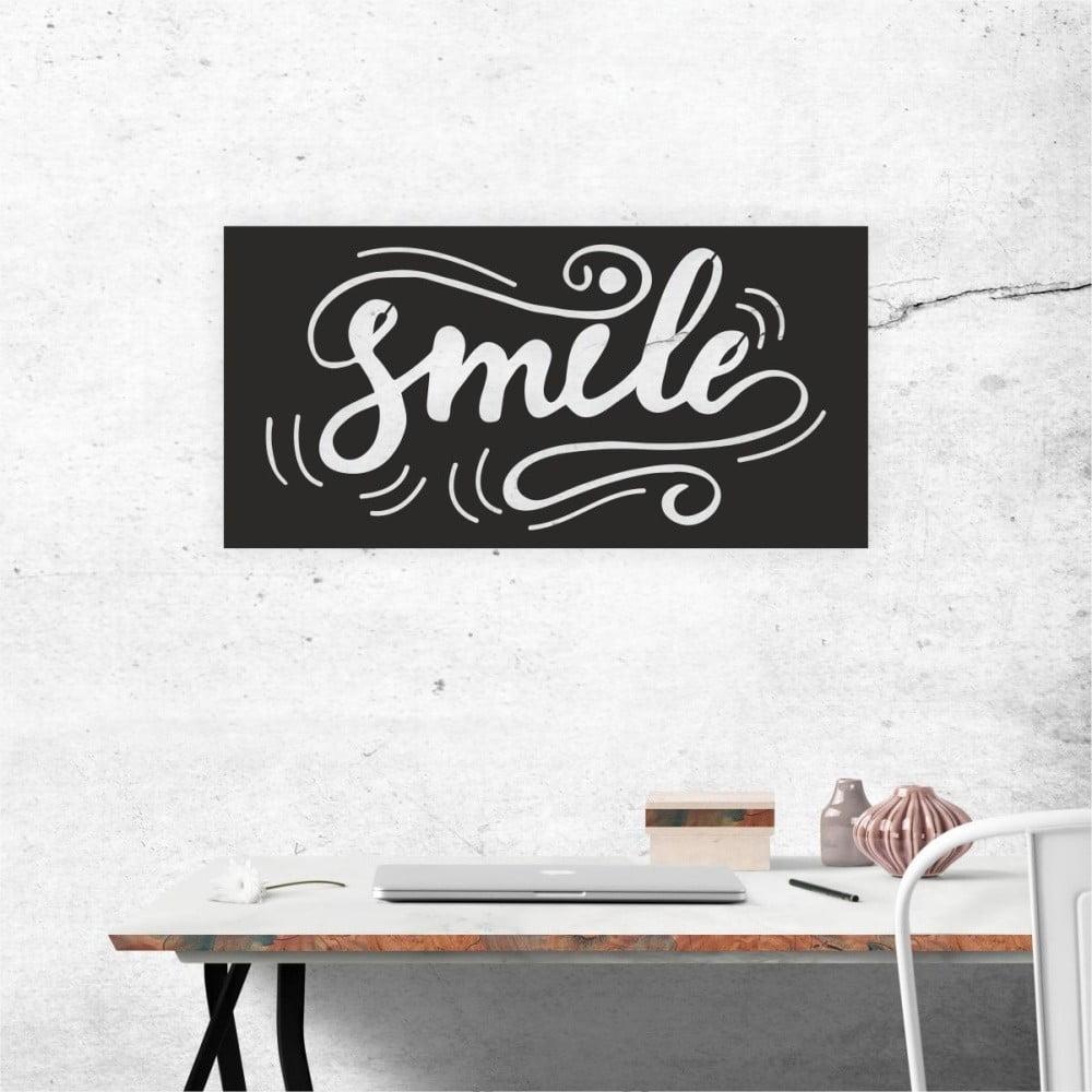 Čierna nástenná samolepiaca dekorácia North Carolina Scandinavian Home Decors Smile, 60 × 30 cm