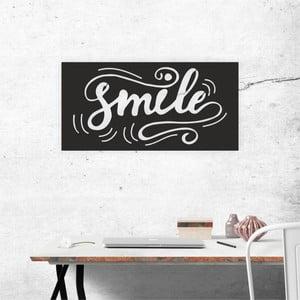Čierna nástenná samolepiaca dekorácia North Carolina Scandinavian Home Decors Smile, 60×30 cm